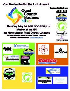 Quad County Business Mixer @ Madison at the Mill | Orange | Virginia | United States